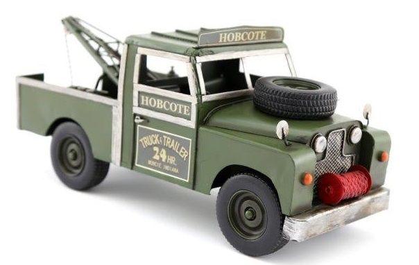 Large Metal Green Pickup Tow Truck Model