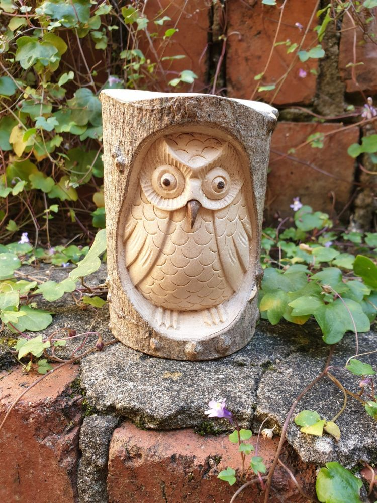Hand Carved Owl in Tree Trunk