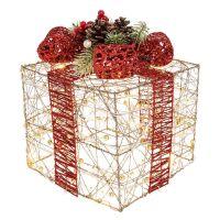 Large Christmas Present Glitter Gold LED Lit Gift Box  Decoration