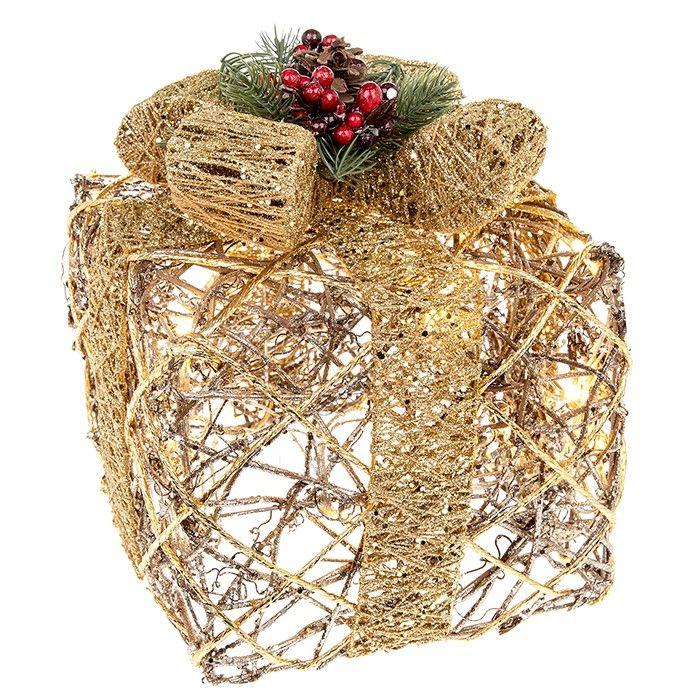 Large Christmas Present  Gold Rattan LED Lit Gift Box  Decoration