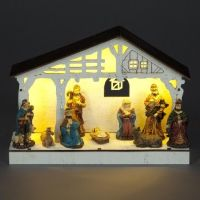20cm Wooden Nativity With 9 Figurines and 5 Warm White LEDS