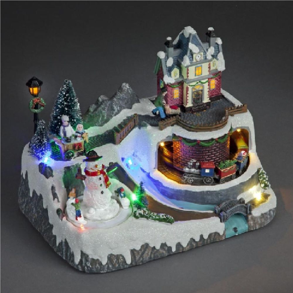 Battery Operated 21cm LED Lit Village With Moving Train