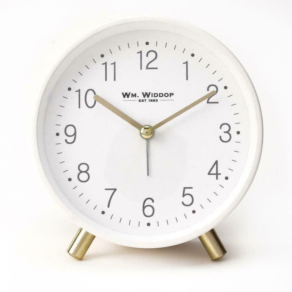 Wm. Widdop Alarm Clock Metal Feet Light & Snooze - White