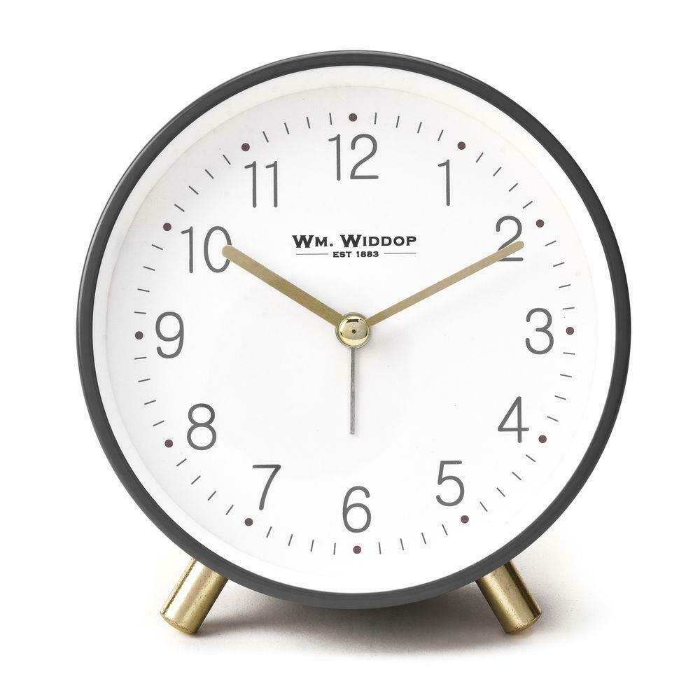 Wm. Widdop Alarm Clock Metal Feet Light & Snooze - Grey