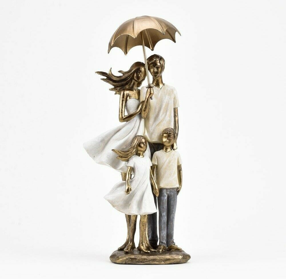 Rainy Day Collection Family  with Umbrella Figurine
