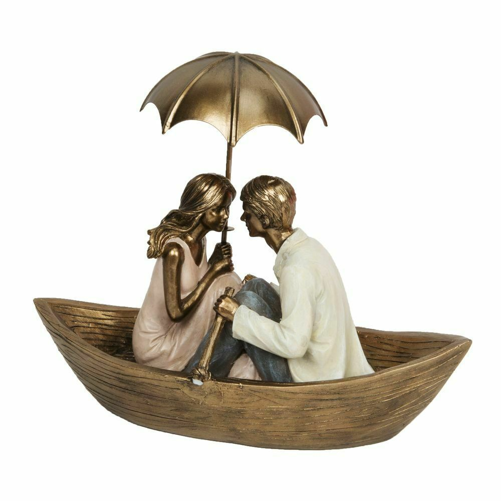 Rainy Day Collection Couple In Boat with Umbrella Figurine