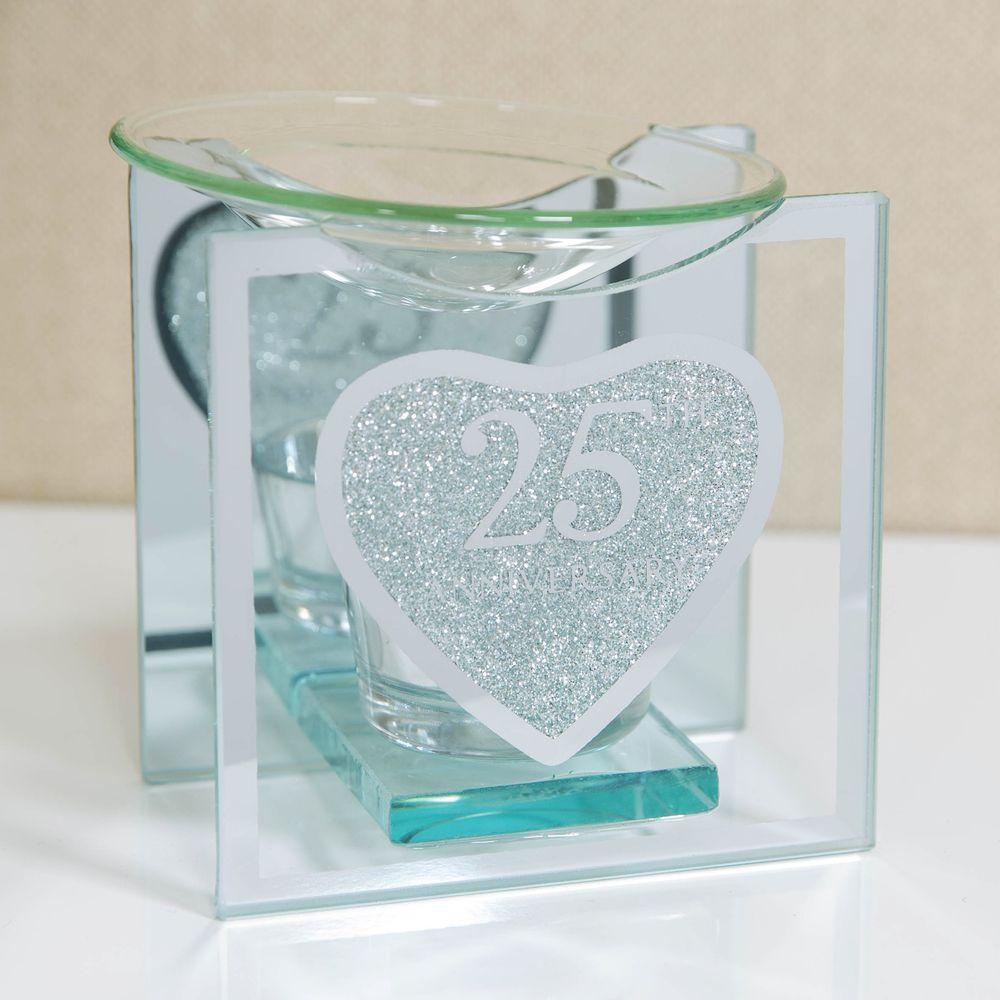 Heart Silver Glitter Glass 25th Anniversary Oil Burner