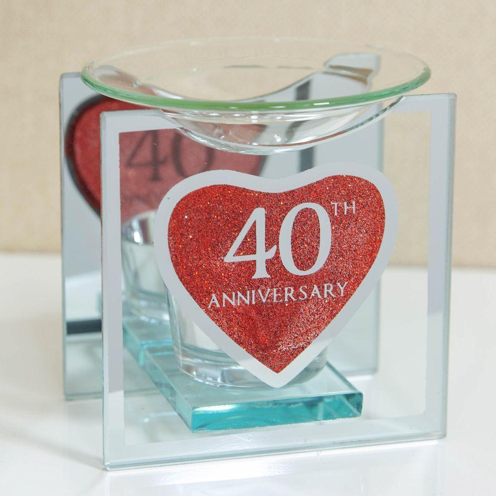 Heart Red Glitter Glass 40th Anniversary Oil Burner