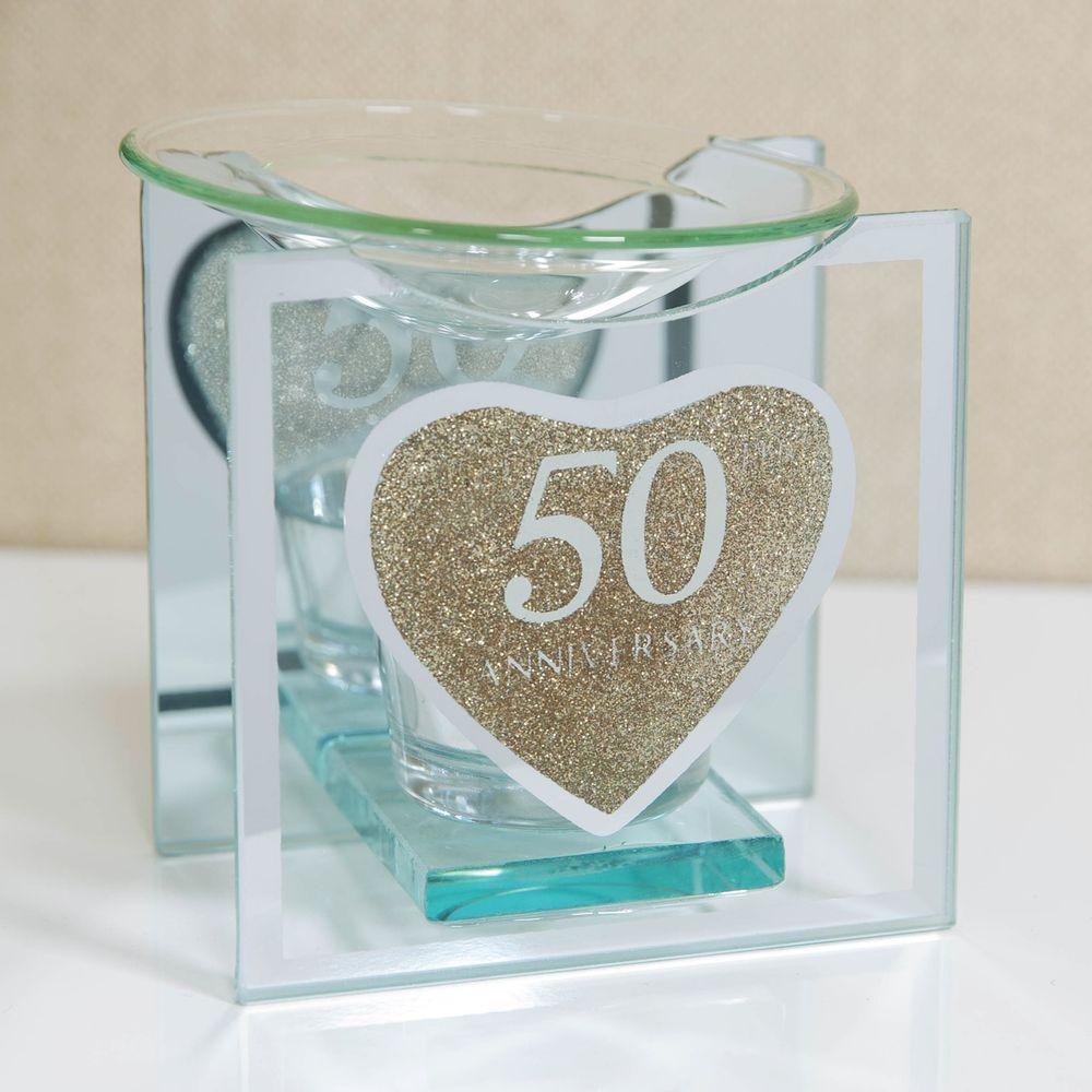 Heart Gold Glitter Glass 50th Anniversary Oil Burner