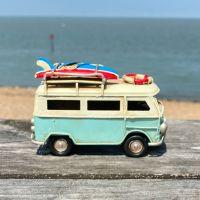 Mini Campervan Metal Ornament - Light Blue
