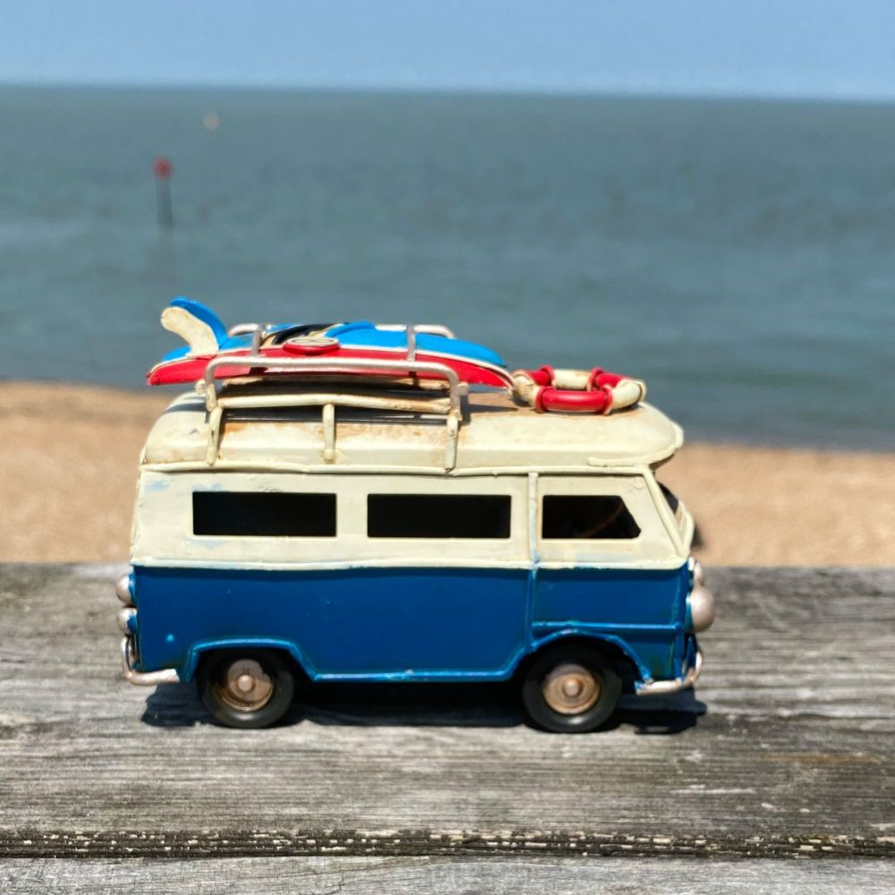 Mini Campervan Metal Ornament - Dark Blue