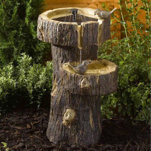 Solar Powered Treetrunk Bird Bath Water Fountain