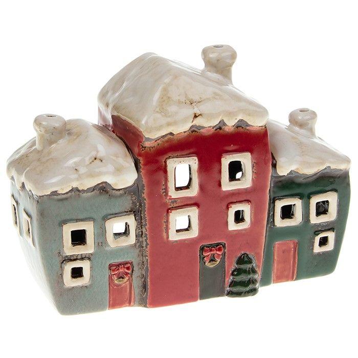 Village Pottery Xmas 3 Houses Tealight