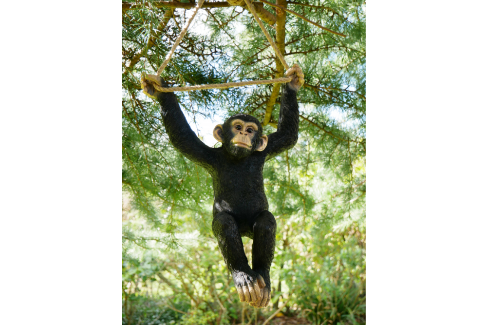Quirky Climbing Monkey Swinging On Rope Garden Tree Ornament Statue Decoration