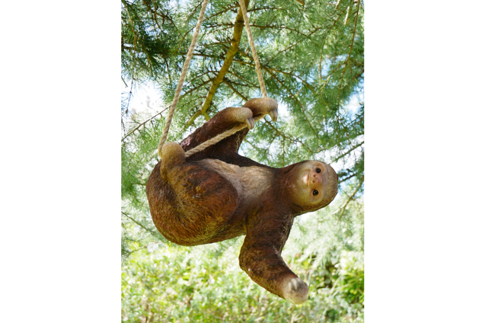 Quirky Climbing Sloth Swinging On Rope Garden Tree Ornament Statue Decoration