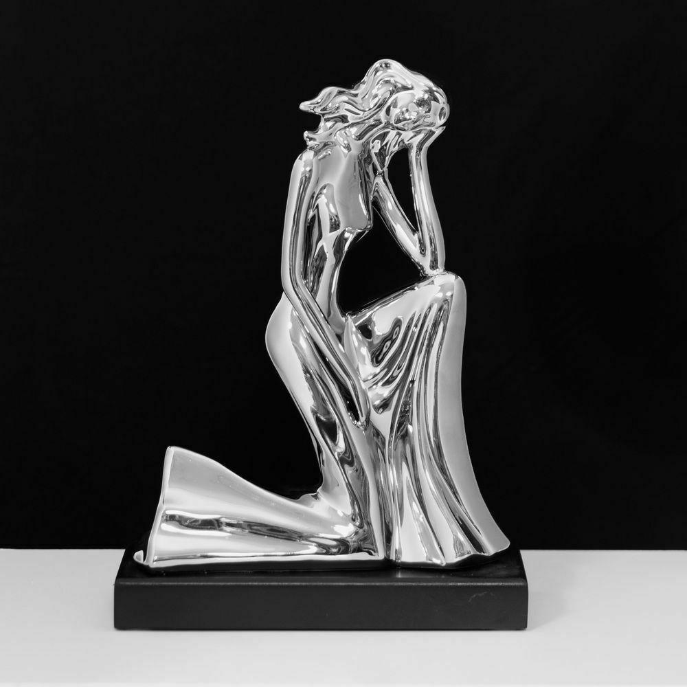 Chrome Silver Mirror Finish Ceramic Woman Kneeling on Plinth