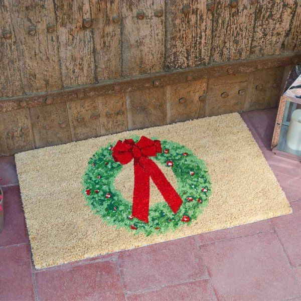 Holly Ribbon Coir Christmas Doormat