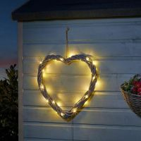 Large Light Up Solar LED Wicker Grey Heart Wall Hanging Decoration