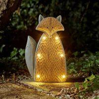 Solar Powered LED Stone Wood Effect Fox Light Outdoor Garden Ornament