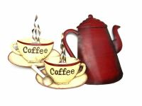 Contemporary Metal Wall Art - Coffee Pot And Cups