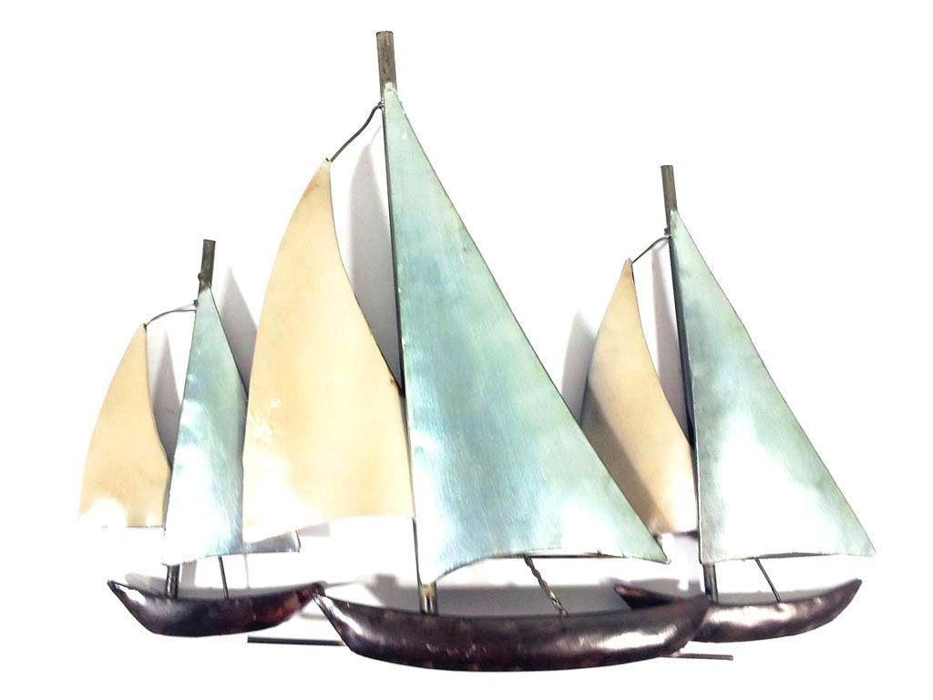 Metal Wall Art - 3 Sail Boats At Sea