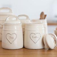 Cream Heart Embossed Tea, Coffee, Sugar Jars