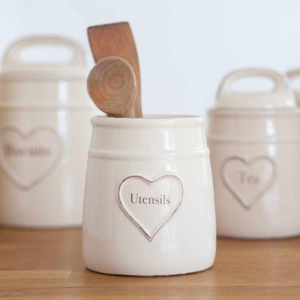 Cream Heart Embossed Utensil Pot