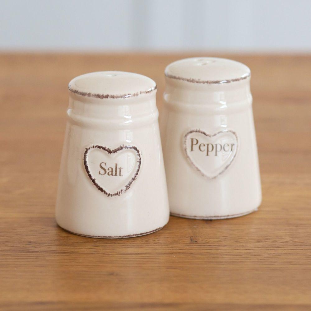 Cream Heart Embossed Salt & Pepper Shakers