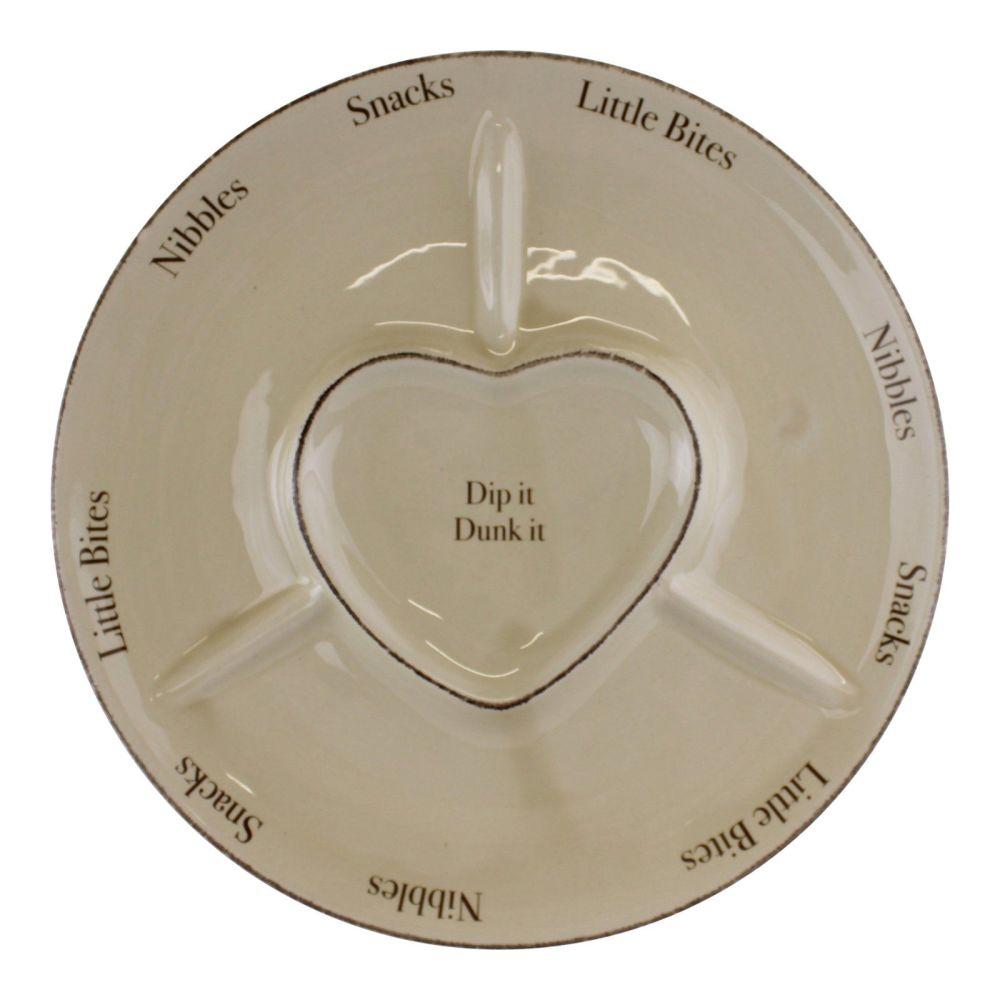 Cream Heart Embossed Snack/Dip Dish