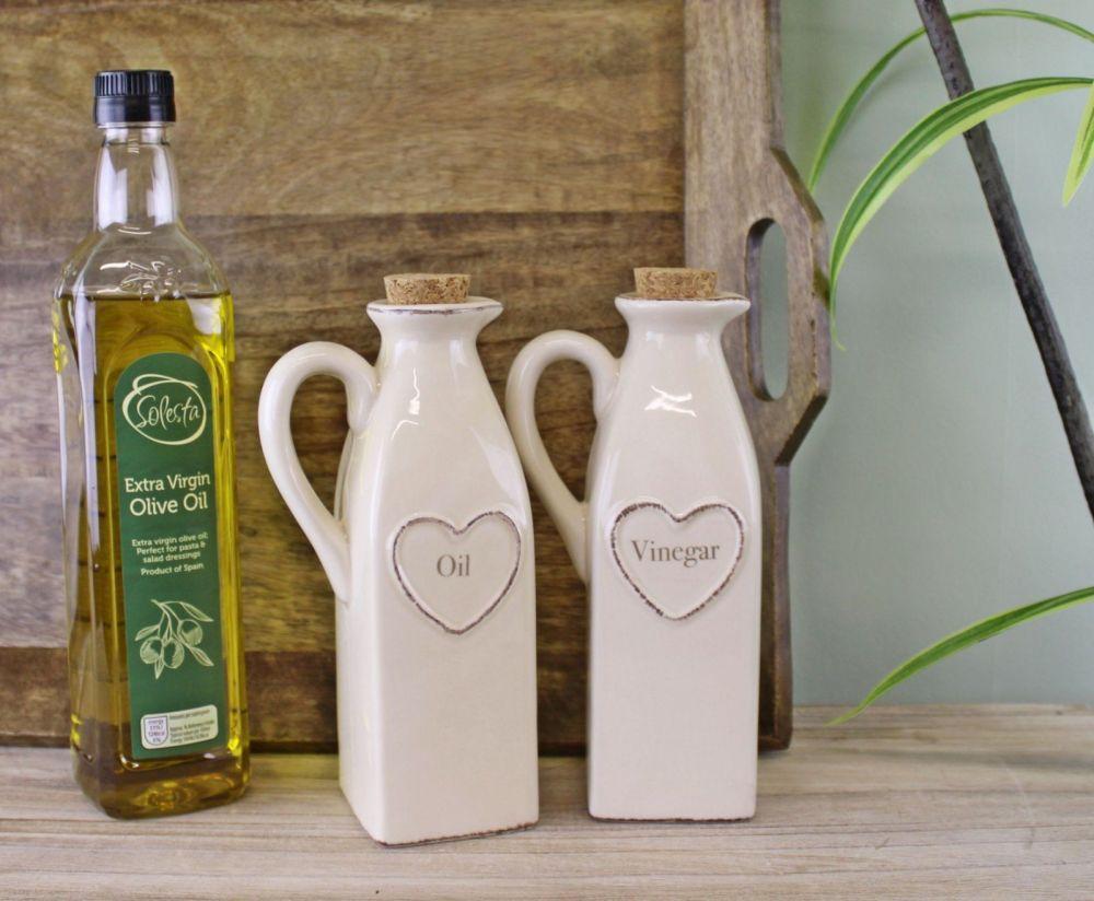 Cream Heart Embossed Oil & Vinegar Bottles