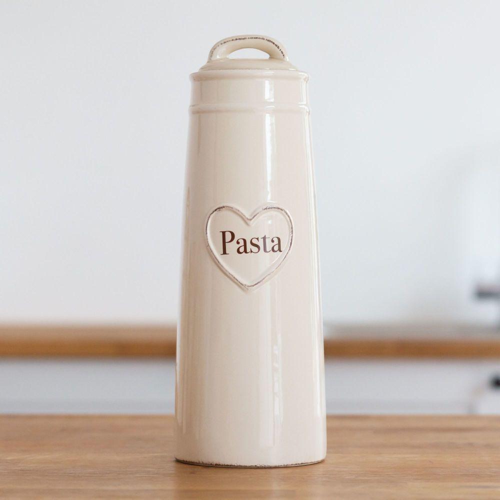 Cream Heart Embossed Pasta Jar