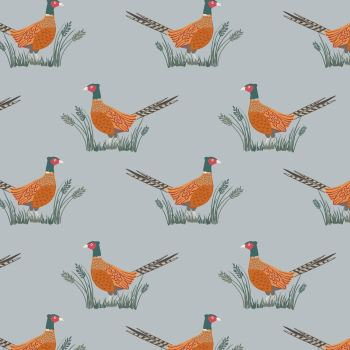 Friendly Pheasant on Country Blue Cotton Fabric Country Life