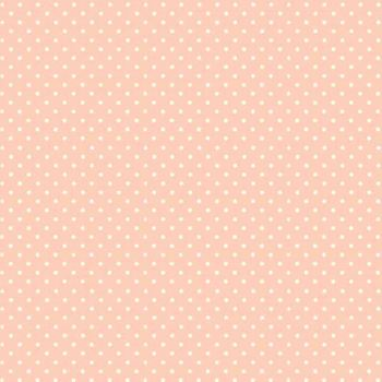 Spot On Cheeky Pink White Polkadot on Pale Pink Cotton Fabric by Makower