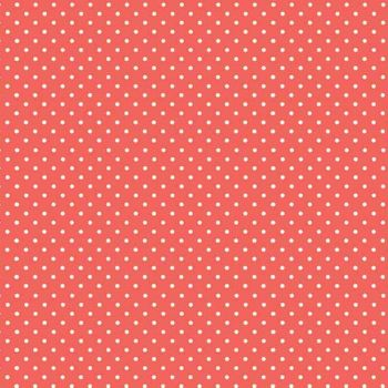 Spot On Coral Peach Rose White Polkadot on Coral Cotton Fabric by Makower