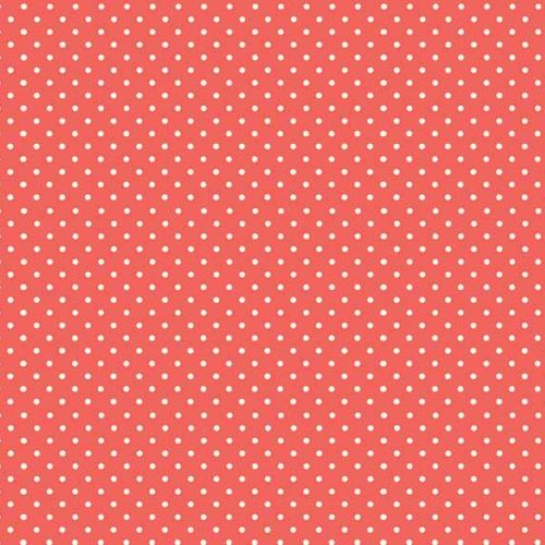 Spot On Coral White Polkadot on Coral Cotton Fabric by Makower FQ