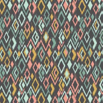 Ikat Diamonds Retro Modern Print Sophia Cotton Fabric by Makower