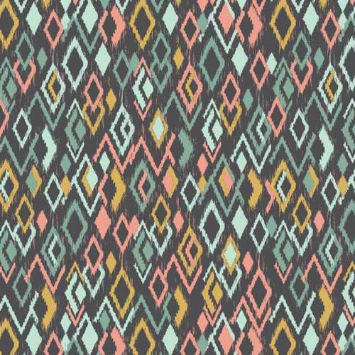 Ikat Diamonds Retro Modern Print Sophia Cotton Fabric by Makower FQ