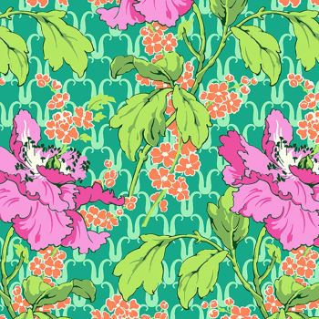 Field Poppy Floral in Rose  Cotton Fabric by Amy Butler Violette