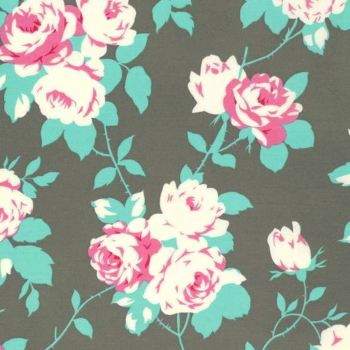 Rose Vine Cotton Fabric in Sky Tanya Whelan Floral Chloe