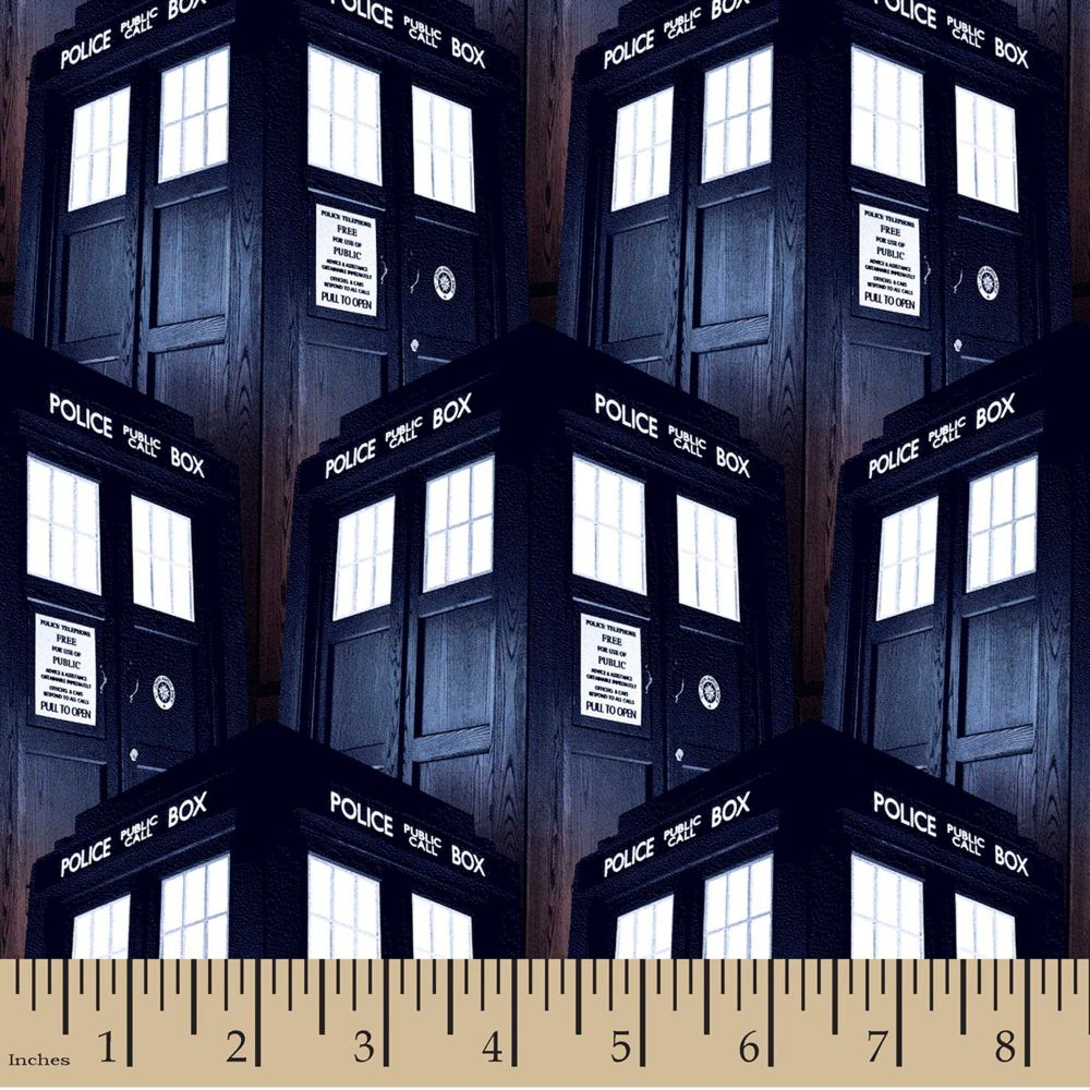 Doctor Who Packed Tardis BBC Cotton Fabric FQ