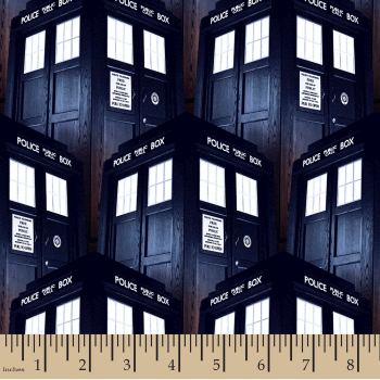 REMNANT Doctor Who Packed Tardis BBC Cotton Fabric