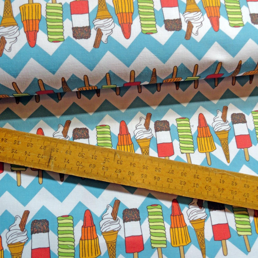 Ice Cream and Lolly Print Cotton Fabric with Blue Chevron FQ