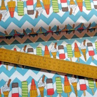 Ice Cream and Lolly Print Cotton Fabric with Blue Chevron