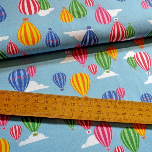 Hot Air Balloon Festival Flying Sky Cloud Cotton Fabric FQ