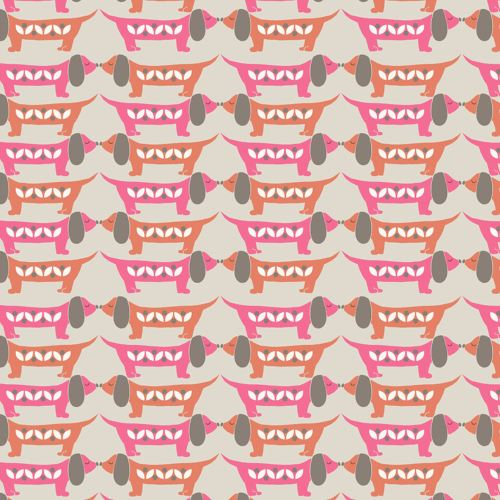 Dachshund Sausage Dog Nose to Nose Sam Cotton Fabric FQ