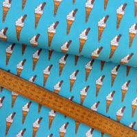 Ice Cream Cone Icecream 99 with a Flake on Blue Cotton Fabric