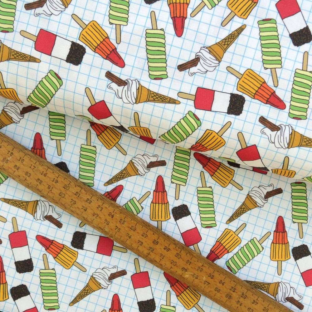 Ice Cream and Lolly Print on Graphy Paper Cotton Fabric