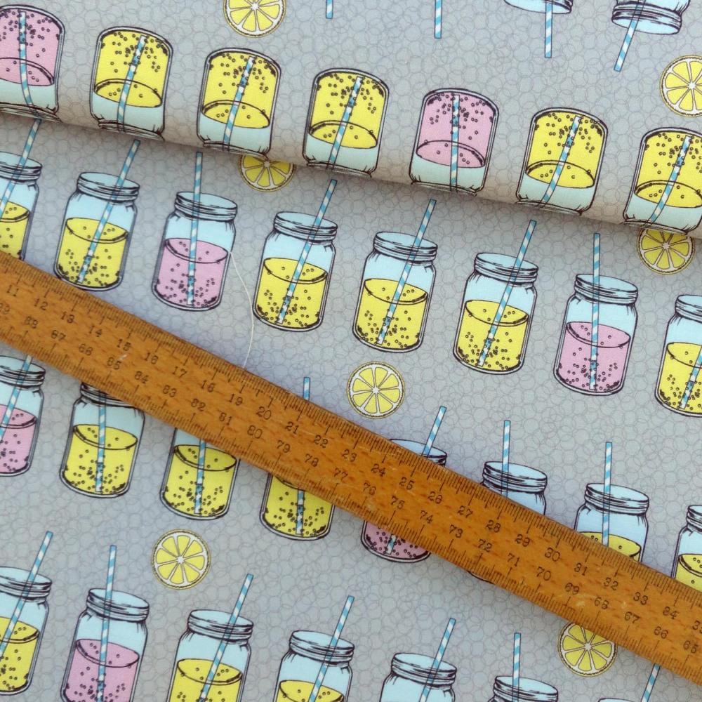 Lemonade Bubbles Paper Straw Mason Jar Pink Yellow Grey Cotton Fabric