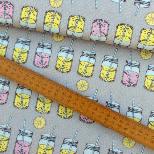 Lemonade Bubbles Paper Straw Mason Jar Pink Yellow Grey Cotton Fabric