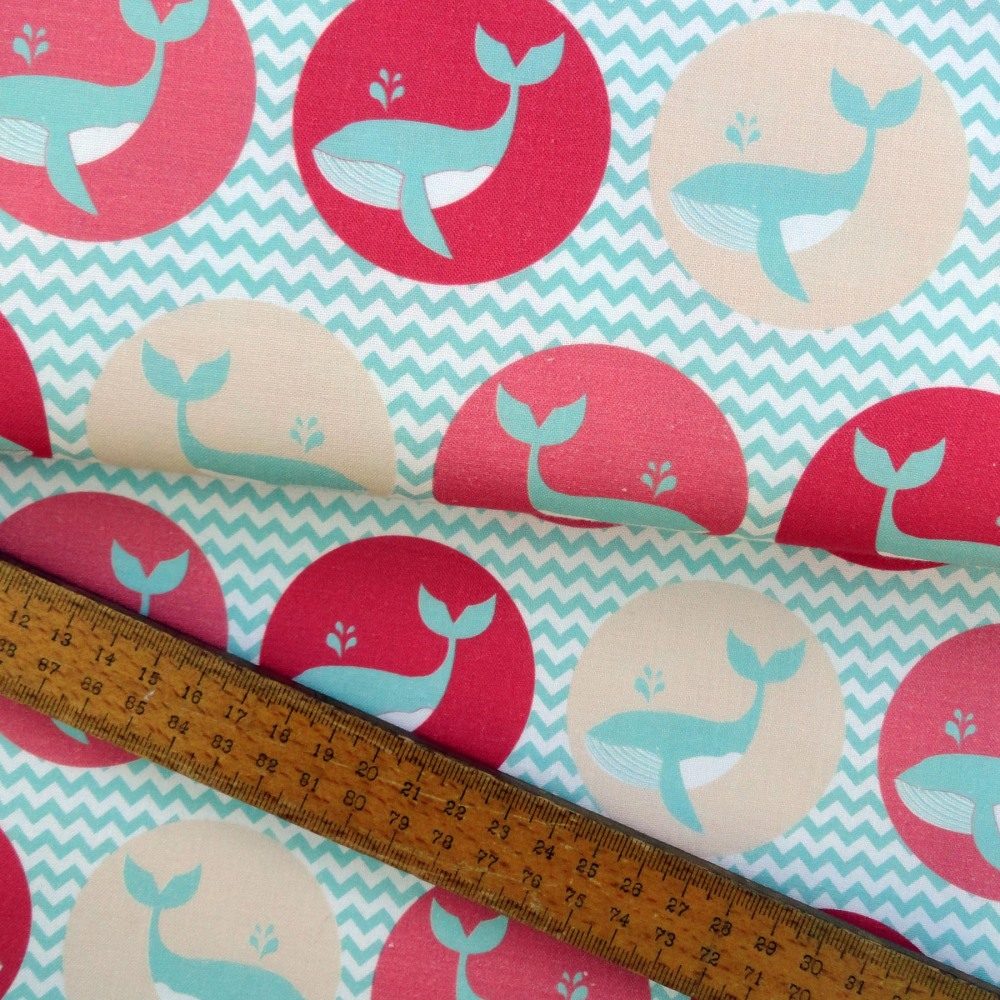 Whale of a Time Waves Blue Whales Cotton Fabric